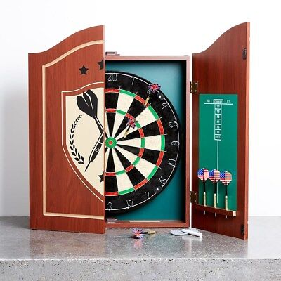 Dartboard With Cabinet Wooden 6 Darts Set Scoreboard Pub Style Pro Games Sports