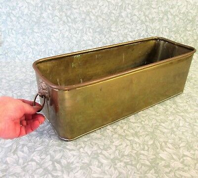 "Antique French Brass Planter Lion Head Handles Vintage Trough Pot 18"" Long"