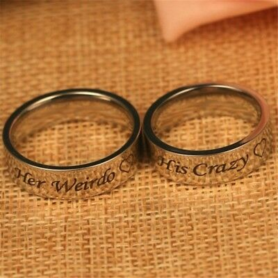 1 PC His Crazy Her Weirdo Couple Ring Valentine's Day Stainless Steel Jewelry