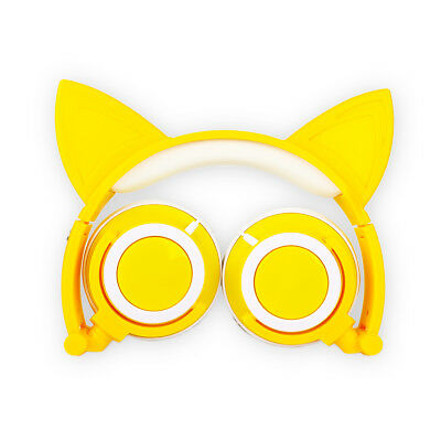 Cat Ear Headphones Cute Foldable Headsets Wired W/ LED Lights 3.5mm Gift