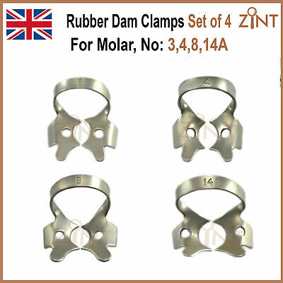 Dental Endodontic Rubber Dam Clamps For Molar Restorative Stainless Steel Set CE