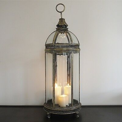 French Antique Vintage Glass Garden Candle Hurricane Lantern Lamp Holder Large