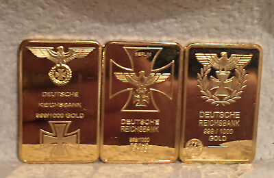 Lot of 3 Different 1oz Gold Clad Bars w/ WWII, German and Adolph Hitler Designs
