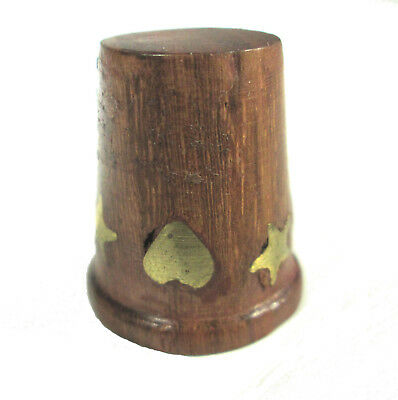 Wood Thimble with Brass Hearts and Stars Inserts Scuffing Wear