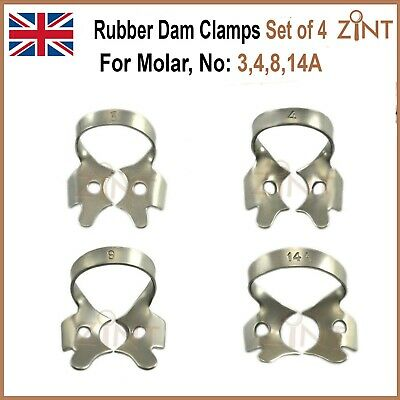 Dental Endo Restorative Set Of 4 Rubber Dam Clamps For Upper Molars Restoration