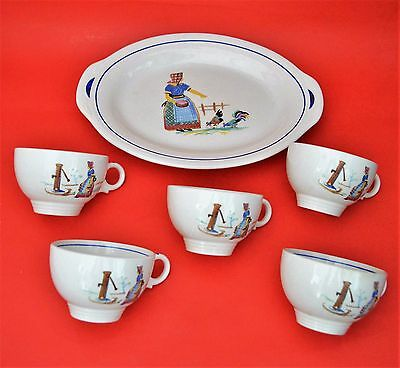 Antique The Harker Pottery Co Usa Set 6 Pcs Cups Plate Very Rare Pattern