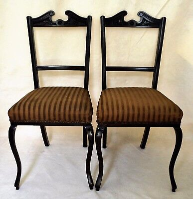 Antique English  Pair of Victorian Chairs England 19th C Refined Cabriole Legs