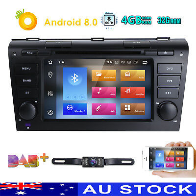 """7"""" Android 8.0 Head Unit Stereo GPS DVD BT Mazda 3 2004 2005 2006 2007 2008 2009"""