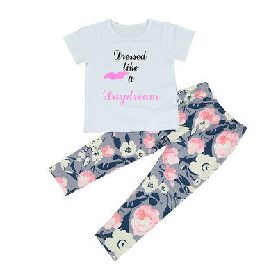 Toddler Kids Baby Girls Summer Outfit Clothes Letter T-shirt Tops+Pants 2PCS Set