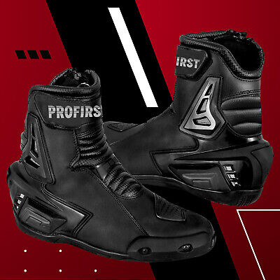 Motorcycle Black Armoured Leather Waterproof Short Ankle Motorbike Racing Boot
