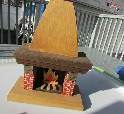 "Dollhouse Artist Fireplace Mantle Wood Large Brick Flame Gorgeous 7.25"" Vintage"