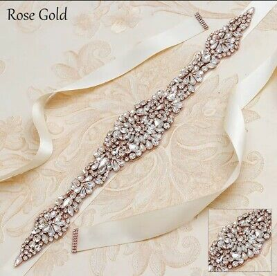 Bridal Wedding Rose Gold Rhinestone Crystal Encrusted Sash Dress Ivory Belt