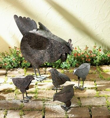 Rustic Country Farm Animals Metal Sculpture Set Baby Chicks Fowl Poultry Statue