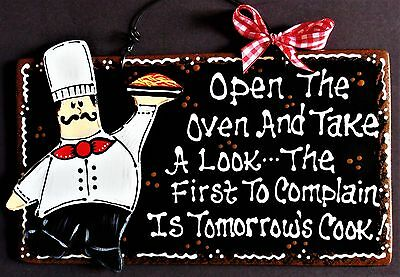 FAT CHEF SIGN Tomorrow's Cook KITCHEN Bistro Cucina Wall Hanger Plaque