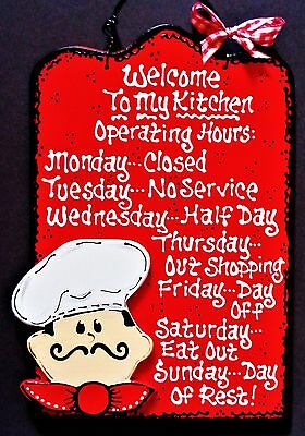 FAT CHEF Kitchen Operating Hours KITCHEN SIGN Cucina Bistro Wall Hanger Plaque