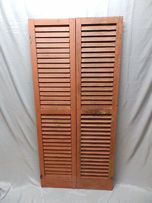 Pair Vtg House Window Wood Louvered Shutters Shabby Old Chic 67x16 38-18P