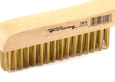 Strong Brass Wire Bristles Scratch Brush W/ Wood Shoe Handle For Metal Cleaning