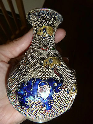 Chinese Mesh Vase With Enamels