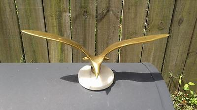 """Vintage Solid Brass Flying Seagull on Marble Base  14 1/4"""" wingspan..."""
