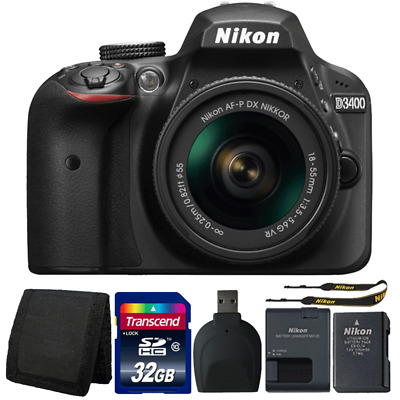 Nikon D3400 24MP DSLR Camera with 18-55mm Lens and Accessory Bundle