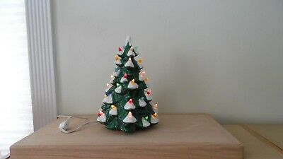 "Vintage Flocked Ceramic Christmas Tree~10 1/4""h~Light Cord~On/off Switch~No Base"