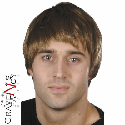 Mens Brown Short Hair Boy Band Wig 60s 70s 80s 90s Guy Fancy Dress Accessory New
