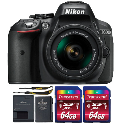 Nikon D5300 24.2MP DSLR Camera with 18-55mm Lens and Two 64GB Memory Cards