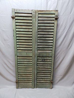 Pair Vtg House Window Wood Louvered Shutters Saloon Shabby Old Chic 56x14 45-18P