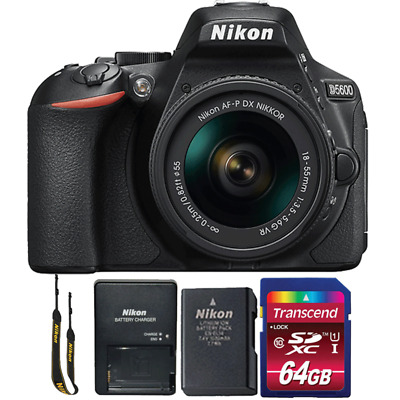 Nikon D5600 24.2MP DSLR Camera with 18-55mm Lens and 64GB Memory Card