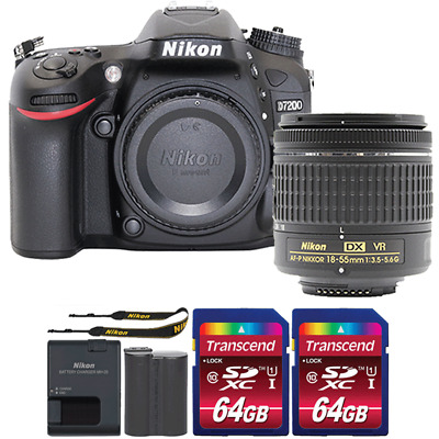 Nikon D7200 24.2MP DSLR Camera with 18-55mm Lens and Two 64GB Memory Cards