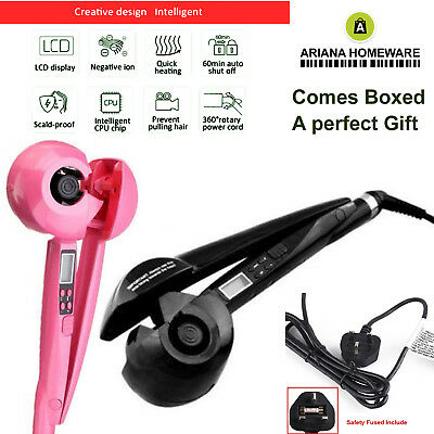 PINK LCD Automatic Anion Hair Curler Curling iron Roller Styling Hair Care Gift