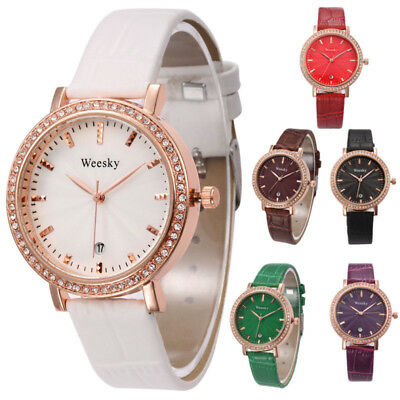 Elegant Women Quartz Wristwatch Rhinestone Analog Dial Casual Sports PU Band