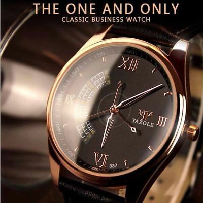 Men Luxury Quartz Roman Business Watch PU Leather Band Stainless Steel Case