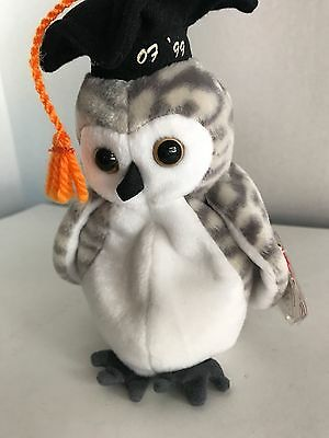 Ty Beanie Baby WISER 1999 OWL w/ Tag ERRORS Plush Toy RARE PE NEW RETIRED