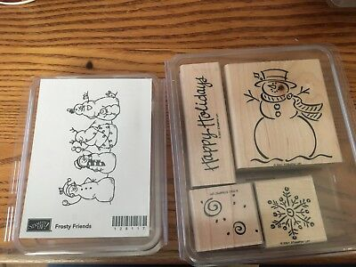 New, Unmounted Stampin Up Frosty Friend Snowman, Happy Holidays Snowman Set