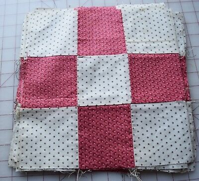 15 1880-90's 9 Patch quilt blocks, double pink, black on white fine shirting