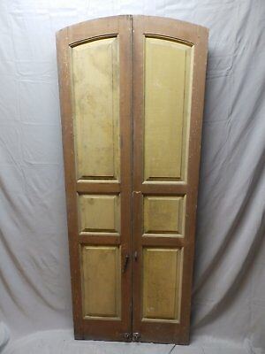 Pair Vtg Arched House Window Wood Paneled Shutters Shabby Old Chic 71x14 49-18P