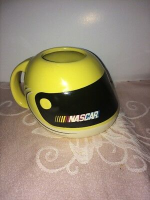 Vintage NASCAR Helmet Shaped Coffee Cup Mug Yellow