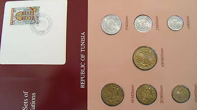 Coin Sets of All Nations Tunisia wcard UNC 5,20,50,100 Millimes 1983 1,2,10 1960