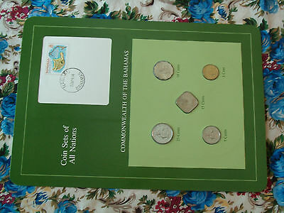 Coin Sets of All Nations Bahamas 1969 - 1984 UNC 5, 25 cents 1981 15 cents 1969