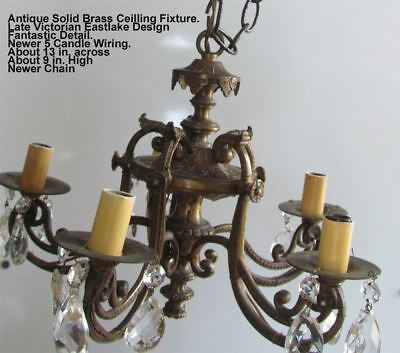 Antique Solid Brass Ceiling Fixture Victorian Eastlake Design GREAT DETAIL!