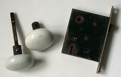 Pair Antique White Porcelain Knobs With Mechanism