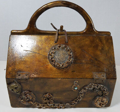 Vintage Wooden Handbag Purse with Foreigh Coins and Embellishments Signed Marty