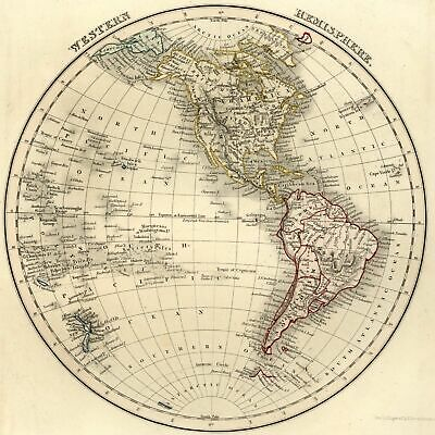 Western Hemisphere North America United States NZ Pacific 1840 old map Dower Orr