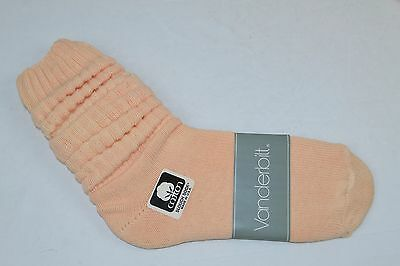 VINTAGE 1980's 1 Pair 100% Cotton SLOUCH Baggy Push-Down SOCKS Peach NOS