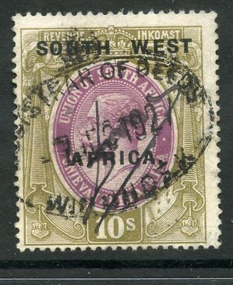 South West Africa Swa Revenue 1923 Gv 10/- South West Wide Overprint Tax Duty