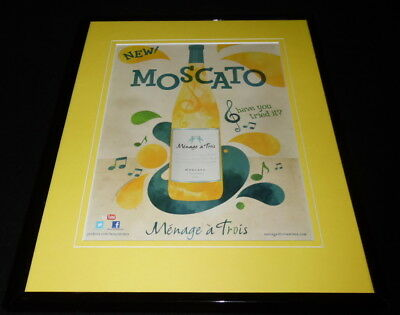 2011 Moscato Menage a Trois Wines Framed 11x14 ORIGINAL Advertisement