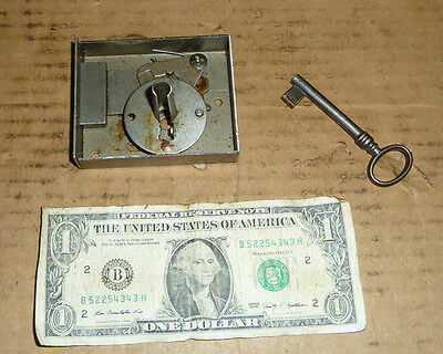 Vintage Lock & Key for Strong Box,Safe,Treas.Chest,Trunk,Furniture,Cabinet,Door