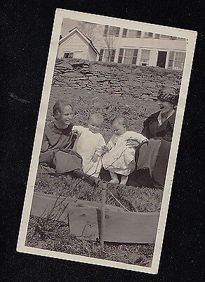 Vintage Antique Photograph Two Women With Adorable Twin Babies In Front of House