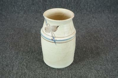"Stoneware Jar With Hand Painted Design 8"" Tall C. 1983"